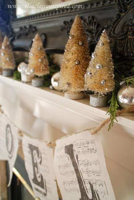 Add vintage Shiny Brite ornaments to your Christmas mantel. More display ideas on DuctTapeAndDenim.com