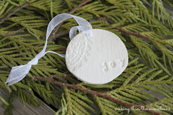 Handmade clay Christmas ornament. More DIY ornaments on DuctTapeAndDenim.com