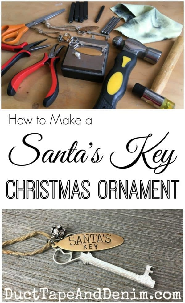 How to make a Santa's Key Christmas ornament. More ideas for DIY ornaments on DuctTapeAndDenim.com