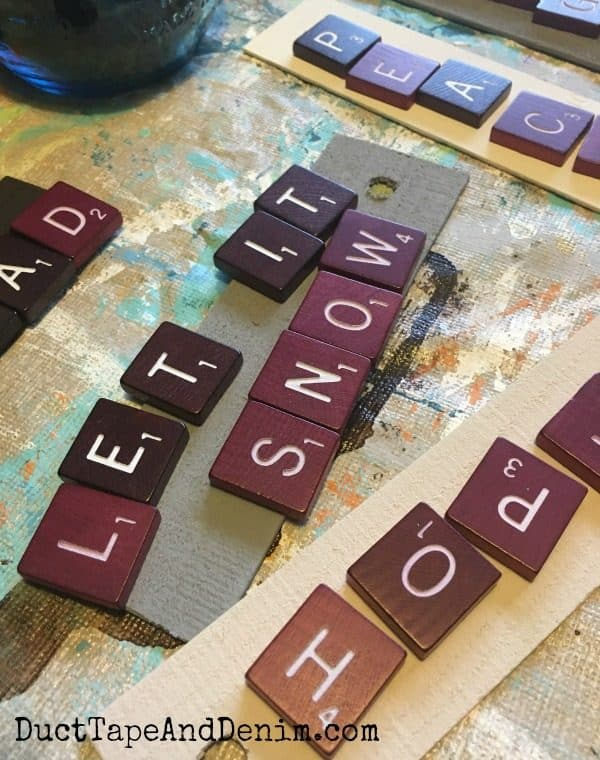 Let it snow Scrabble ornaments | DuctTapeAndDenim.com