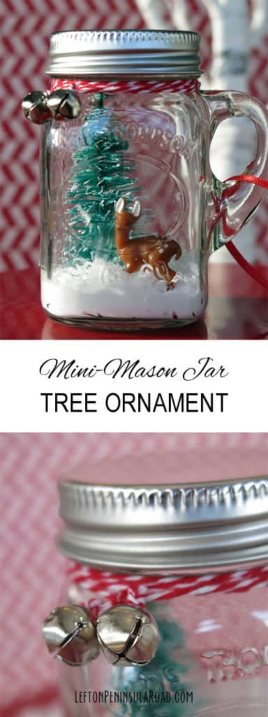 Mini mason jar snow globe ornament. More DIY ornaments on DuctTapeAndDenim.com