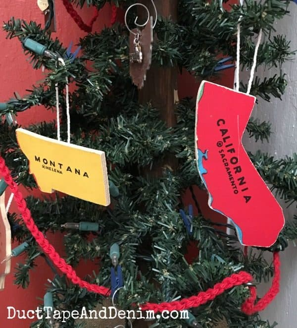 Montana & California state puzzle piece Christmas ornaments | DuctTapeAndDenim.com