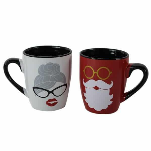Mr. and Mrs. Santa Christmas coffee mugs