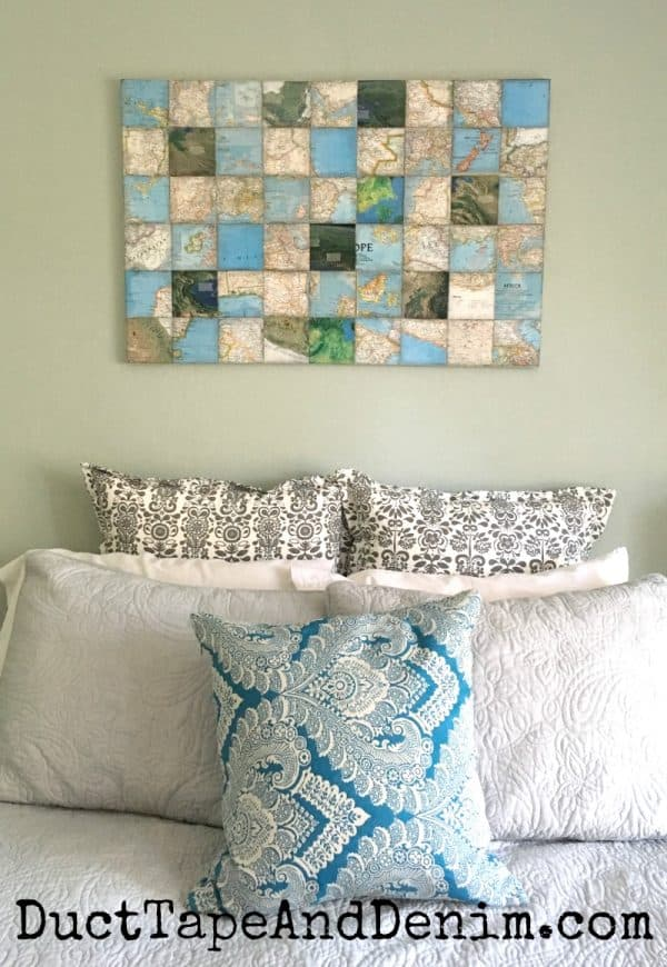 My world map art collage canvas in bedroom | DuctTapeAndDenim.com