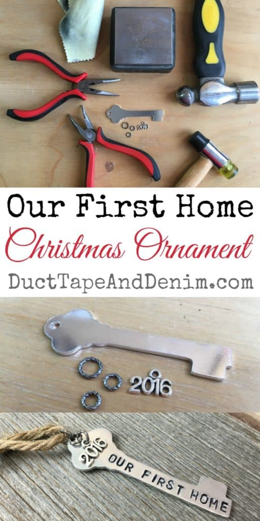 Our First Home Christmas Ornament. More DIY hand stamped ornaments and decor on DuctTapeAndDenim.com