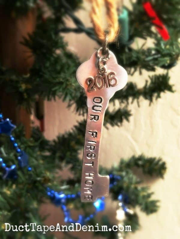 Our first home hand stamped Christmas ornament | DuctTapeAndDenim.com
