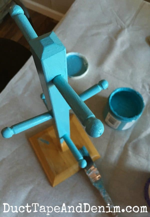Painting the first coat of turquoise chalky finish paint on my mug stand bracelet holder display | DuctTapeAndDenim.com