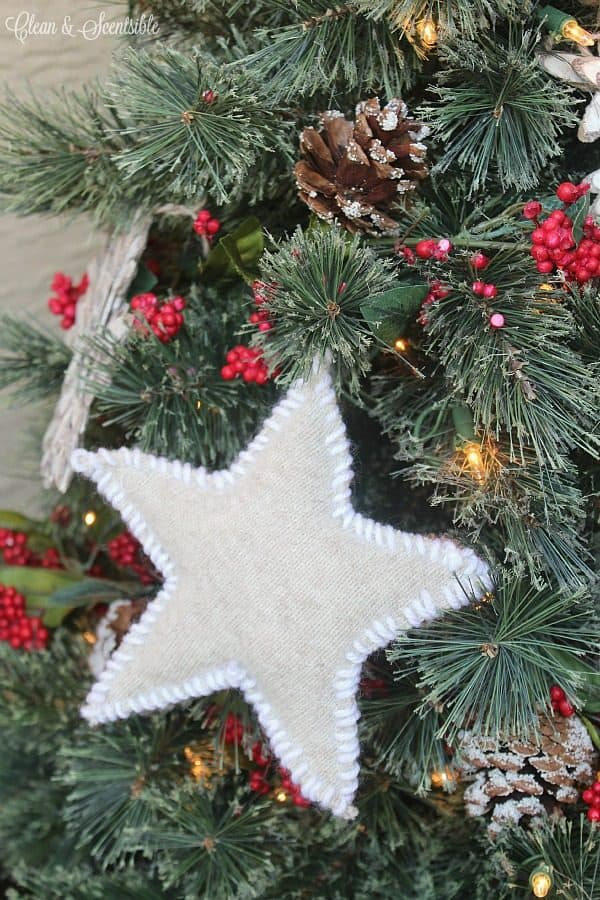 Rustic sweater star Christmas ornaments. More DIY ornament ideas on DuctTapeAndDenim.com