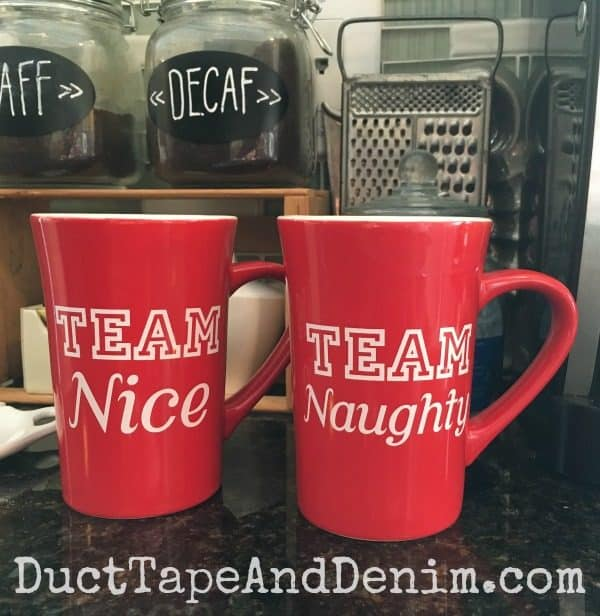 Team Nice and Team Naughty Christmas Coffee Mugs | DuctTapeAndDenim.com