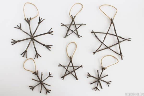 Rustic twig ornaments. More DIY ornament ideas on DuctTapeAndDenim.com