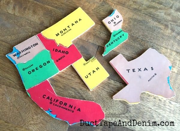 Vintage map pieces become DIY Christmas ornaments | DuctTapeAndDenim.com