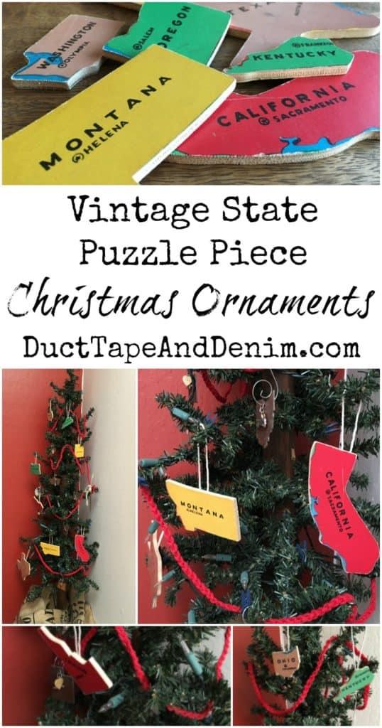 Vintage puzzle pieces, state Christmas ornaments | DuctTapeAndDenim.com