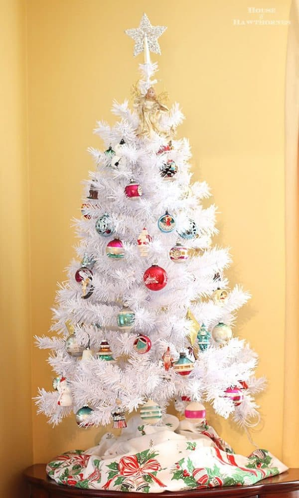 Vintage Shiny Brite ornaments on white Christmas tree. More ways to display vintage glass balls on DuctTapeAndDenim.com