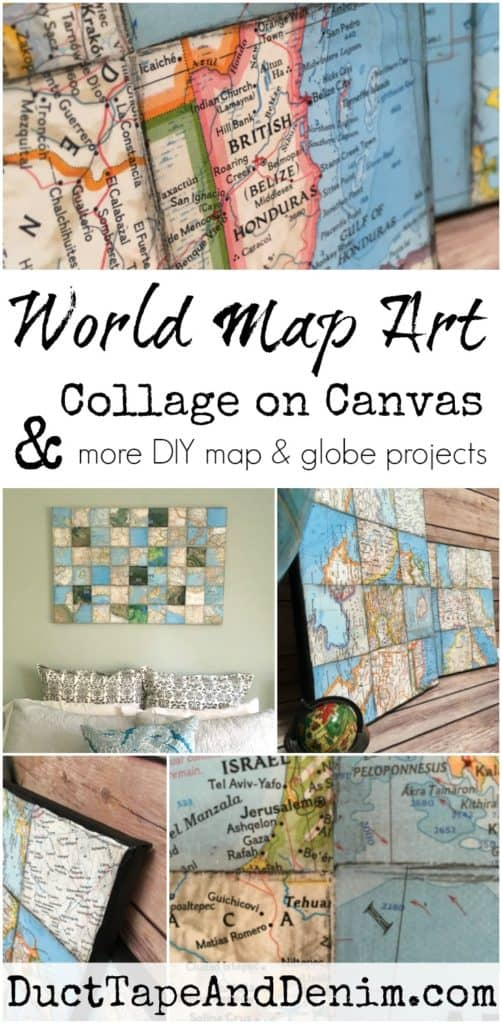 How to make a world map art collage on canvas world map art collage on canvas more diy map and globe projects on ducttapeanddenim gumiabroncs Images