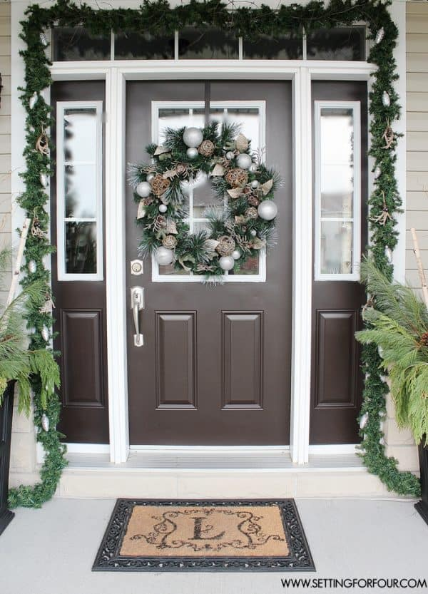 Fresh cut greens on Christmas front door