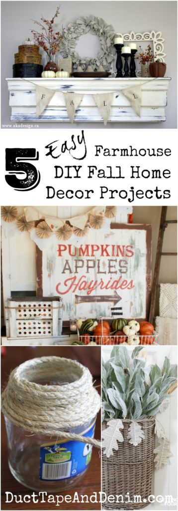 5 easy farmhouse DIY fall home decor projects. See more on DuctTapeAndDenim.com