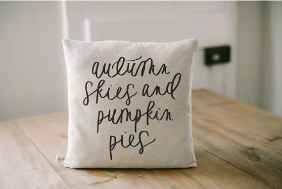 Autumn skies and pumpkin pies fall pillows