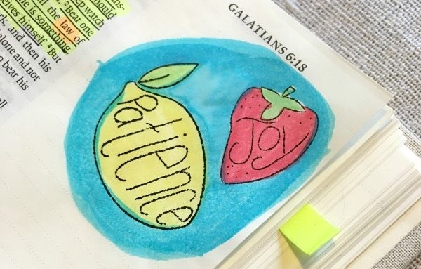 Bible journaling with watercolor and fruit of the Spirit stamps | DuctTapeAndDenim.com