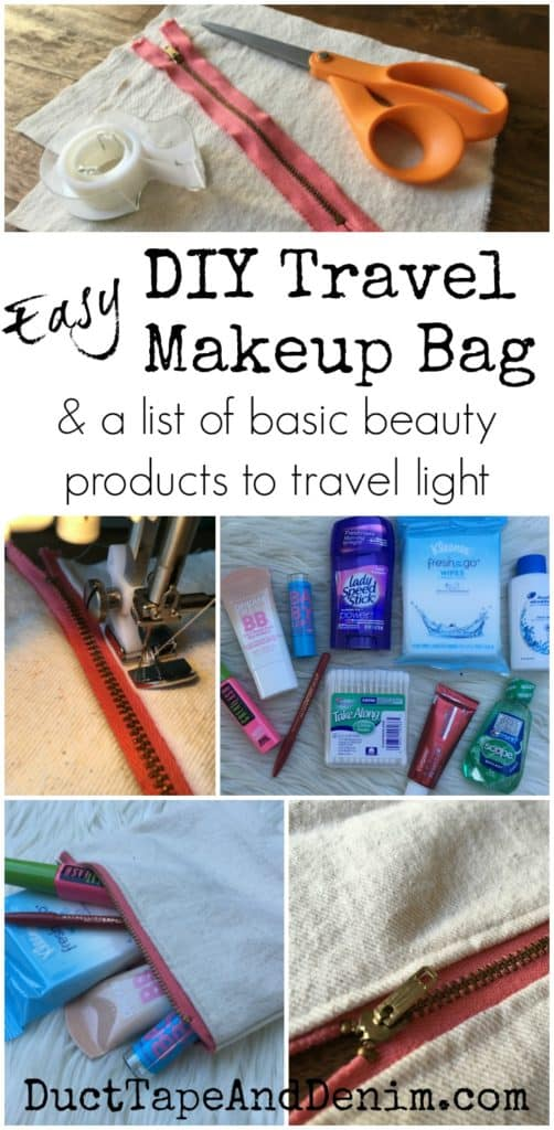 Easy DIY travel makeup bag made with drop cloth. List of basic beauty products you need when traveling light. | DuctTapeAndDenim.com