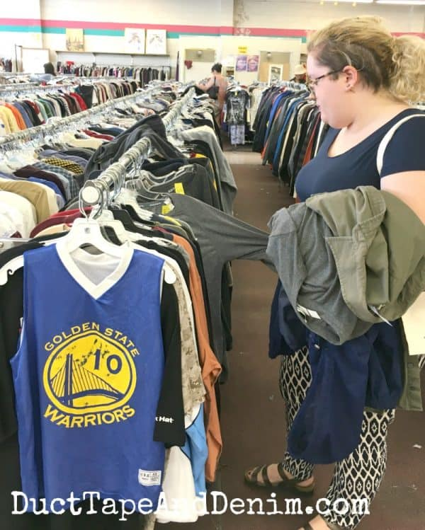 Shopping for used clothes at thrift stores