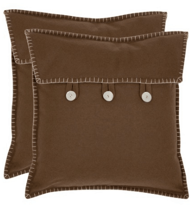 Button closure suede throw pillow