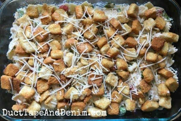 Caesar chicken pasta ready for the oven | DuctTapeAndDenim.com