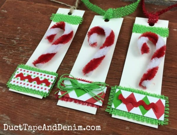 Candy Cane Christmas gift tags with burlap, Christmas crafts | DuctTapeAndDenim.com