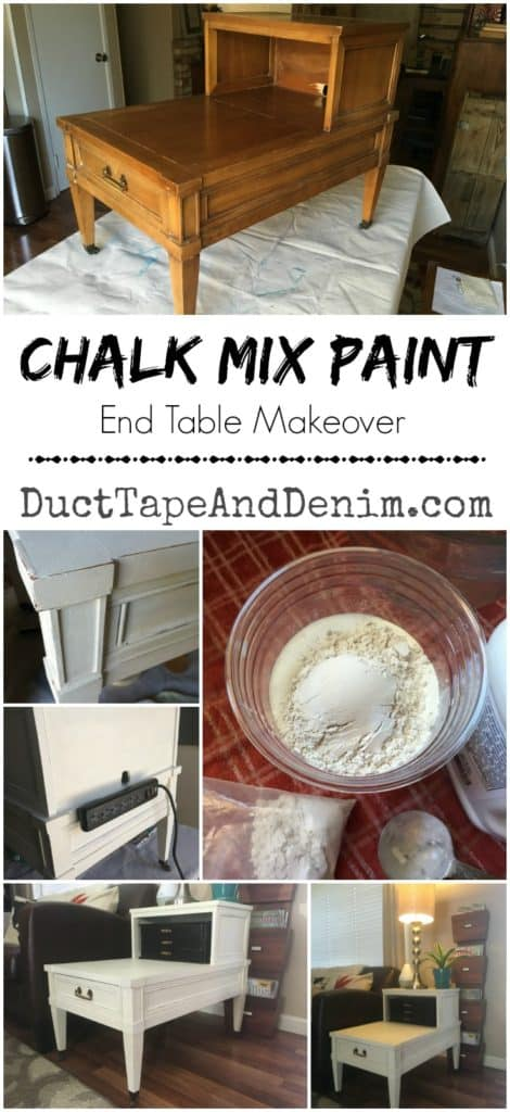 Chalk mix paint end table makeover | DuctTapeAndDenim.com
