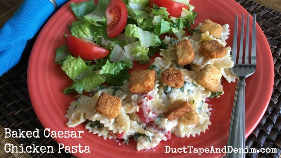 Chicken Caesar pasta bake recipe | DuctTapeAndDenim.com
