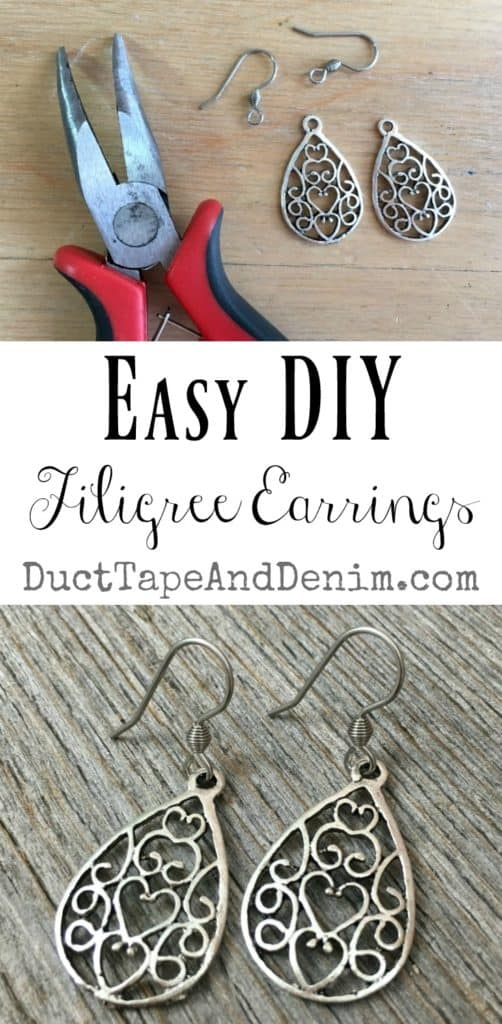 Easy DIY Filigree Earrings | DuctTapeAndDenim.com