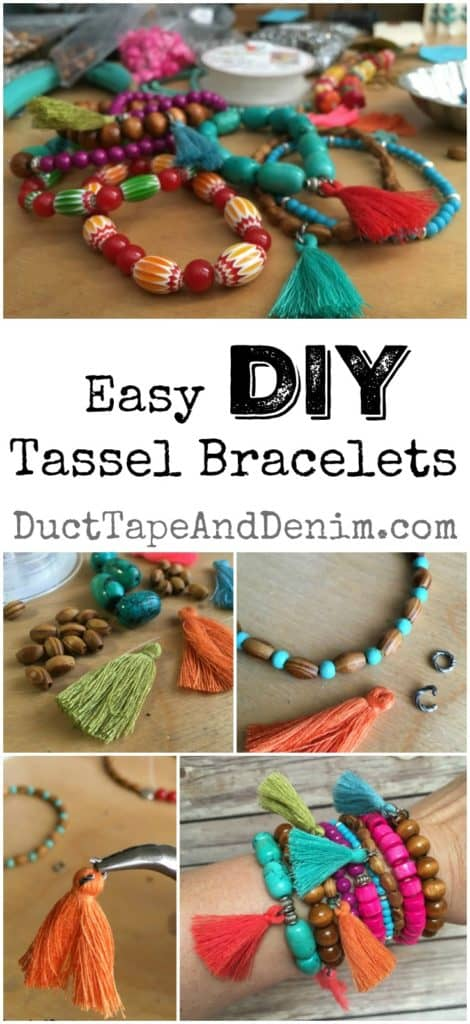 Easy DIY tassel bracelets, tutorial | DuctTapeAndDenim.com