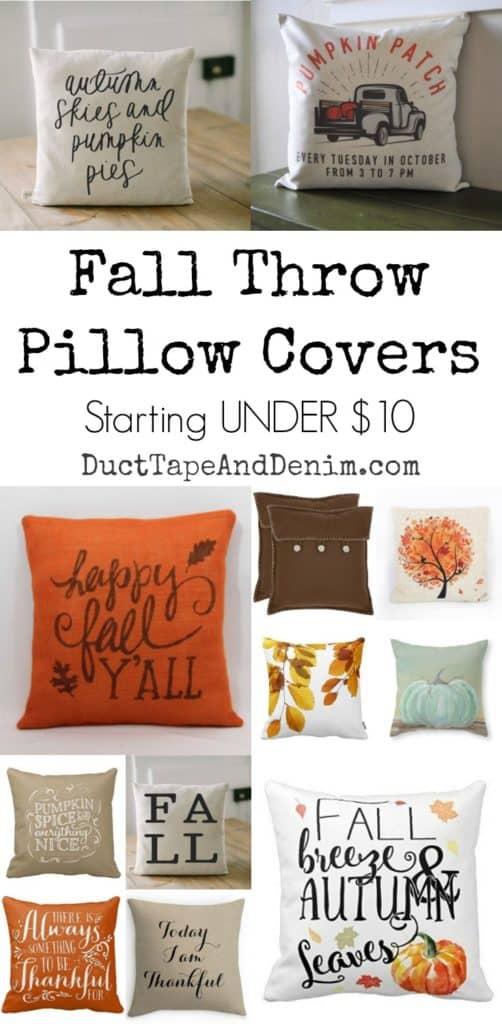 Fall throw pillow covers starting under $10 | DuctTapeAndDenim.com