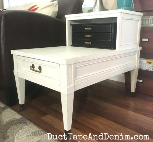Finished end table makeover with Diva of DIYs chalk mix paint | DuctTapeAndDenim.com