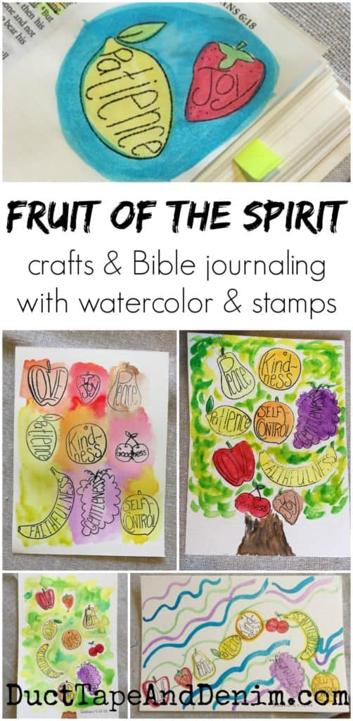 Fruit of the Spirit crafts, Bible journaling with watercolor and rubber stamps. More ideas on DuctTapeAndDenim.com
