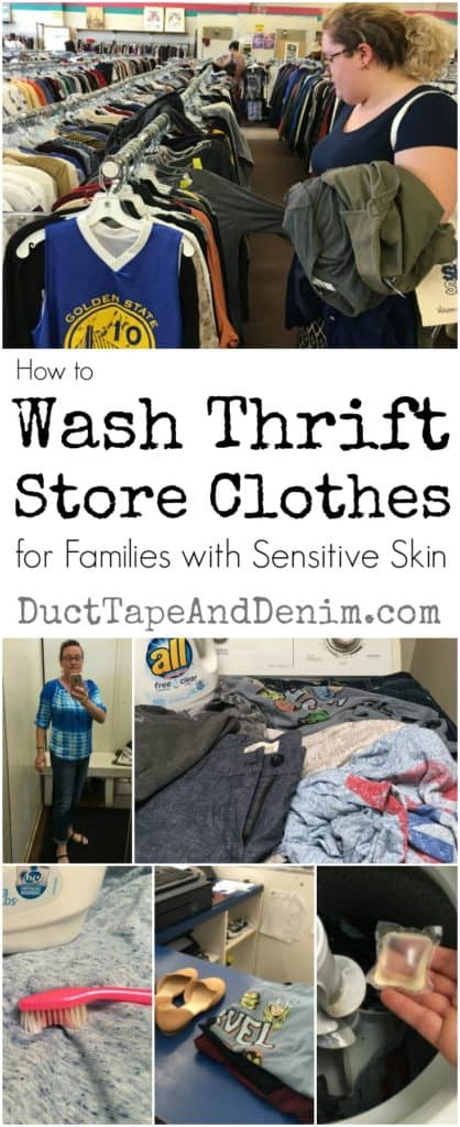 How to wash thrift store clothes for families with sensitive skin. Save money by buying used and vintage clothes at thrift stores, garage sales, or flea markets... even if your family has sensitive skin or allergies. I've been doing this for years. Here are a few of my favorite helpful hints. | DuctTapeAndDenim.com