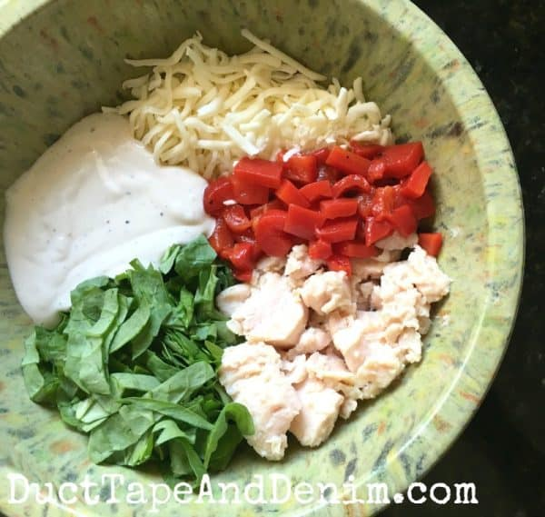 Ingredients for baked Caesar chicken pasta recipe | DuctTapeAndDenim.com