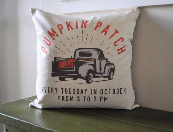 Pumpkin Patch fall pillow cover and more pillows under $25.00 on DuctTapeAndDenim.com