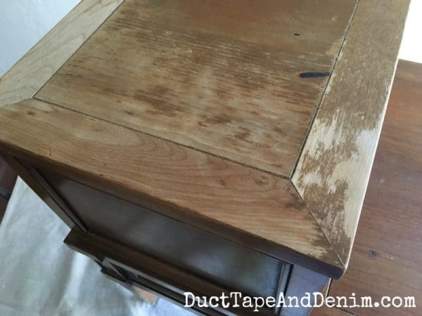 Rough top on thrift store end table before painting with chalk mix paint