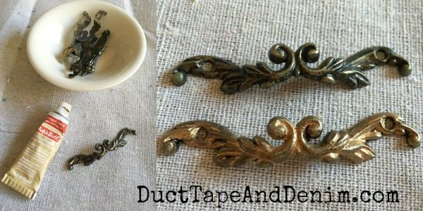 Rub n Buff on handles of thrift store jewelry cabinet | DuctTapeAndDenim.com