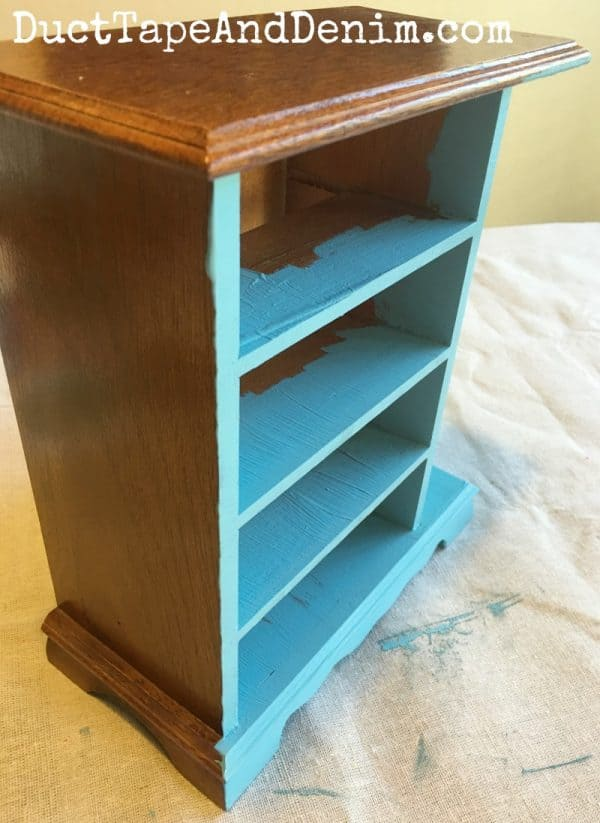 Starting with Americana Decor Chalky paint on the thrift store jewelry box | DuctTapeAndDenim.com
