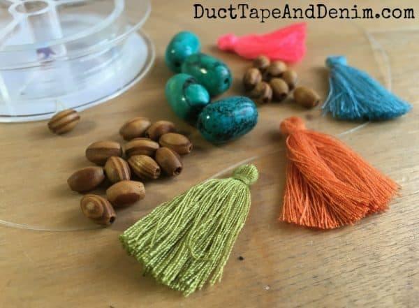 Supplies for tassel bead bracelets | DuctTapeAndDenim.com