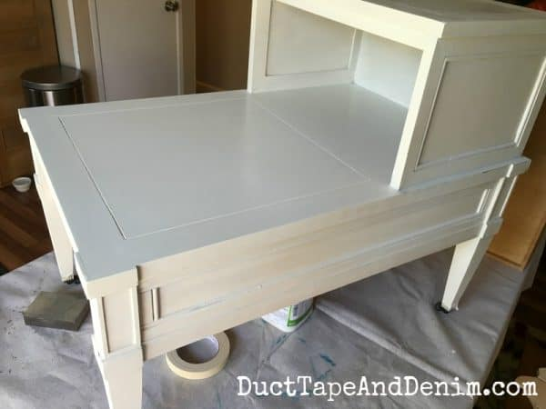 Thrift store end table painted in Sherwin Williams cotton white plus chalk paint mix | DuctTapeAndDenim.com