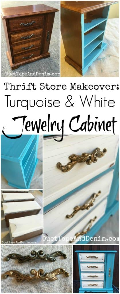 Thrift store makeover, turquoise white jewelry cabinet DIY tutorial | DuctTapeAndDenim.com