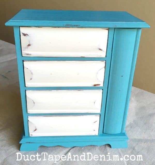 Turquoise jewelry cabinet with white drawers DIY tutorial | DuctTapeAndDenim.com