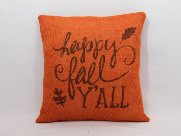 Happy fall y'all orange pillow cover. Bargain pillows and covers under $10 on DuctTapeAndDenim.com