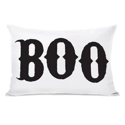 Boo lumbar pillow Halloween pillow cover, more Halloween pillows on Duct Tape and Denim blog, DuctTapeAndDenim.com