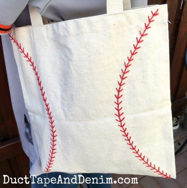 Canvas baseball bag tote DIY tutorial | DuctTapeAndDenim.com