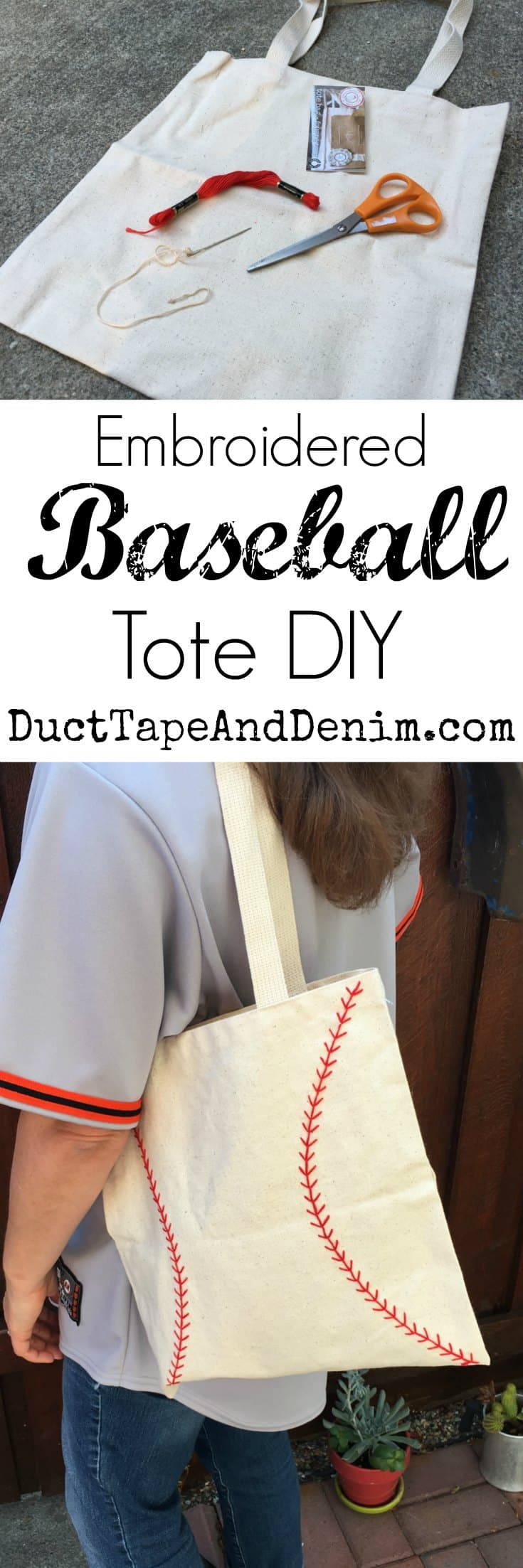 Embroidered baseball bag DIY, tote bag tutorial on DuctTapeAndDenim.com