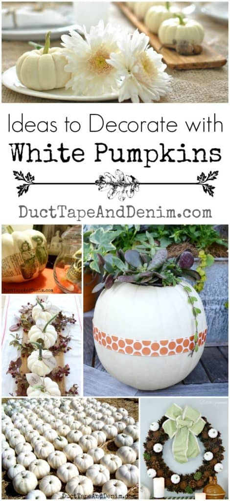 How to decorate with white pumpkins. More fall decor ideas on DuctTapeAndDenim.com