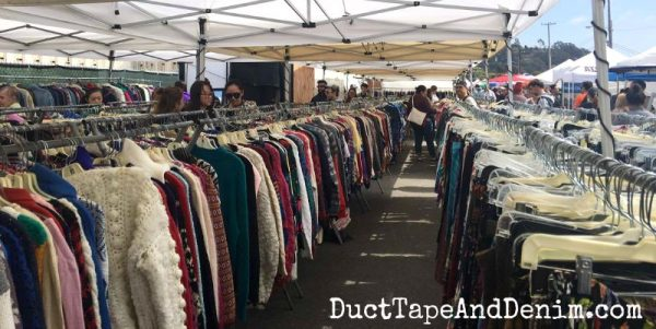Looking for used clothes at Treasure Island Flea, a San Francisco flea market